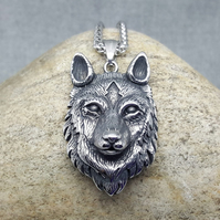 Necklace-Mens Pendant-Women Pendant-Wolf-Silver Wolf-Steel Pendant-INKACREATIONS