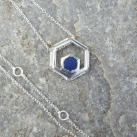 Silver Necklace. Gemstone Necklace. LAPIS LAZULI Necklace. Chain Pendant.