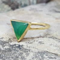 Ring triangle gold green onyx gemstone. MAY BIRTHSTONE. InkaCreations. Rock and