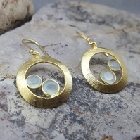 Gold earrings. Dangle earrings. Women jewellery. Gold plated. Gemstone Aqua.