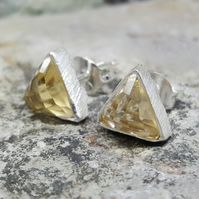 Natural Citrine Stone. Silver Stud Earrings. Gift for Lovers. Gemstone Citrine.
