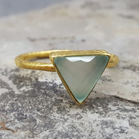 Ring Sterling Silver 18 ct Gold Plated.AQUA CHALCEDONY. InkaCreations.