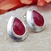 Gemstone Ruby. Studs Drop Earrings. Women Studs. Wedding gift. Red Stone.