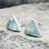 BLUE TOPAZ CZ. Silver Stud Earrings. InkaCreations. Triangle geometric studs.
