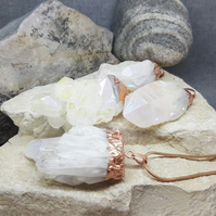 Raw Natural Angel Aura Stone. Quartz Necklace. Geode Stone. Reiki. Inkacreations