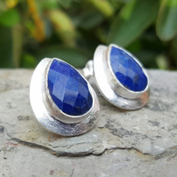 Women's Silver Earrings. Studs Gemstone Earrings. Lapis Lazuli. Teardrop studs.
