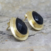Women's Earrings.Stud Gemstone Earrings. Black Onyx. Teardrop studs. Gold. Gift