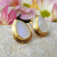 Tear drop Moonstone Gold Stud Earrings, June's Birthstone. InkaCreations