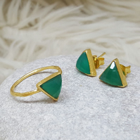 SET OF 2. Bulk Deal. Pay Less!, Gold Arrow Ring and Stud Earrings Green Onyx.