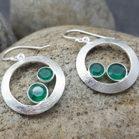 Hook Earrings. Silver Earrings. GREEN ONYX Gemstone. Stone. MAY BIRTHSTONE.