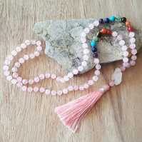 Seven Chakras. Rose Quartz beads Necklace. Natural Clear Quartz.Chakra Necklace.