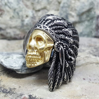 Indian Skull Ring Silver and Gold. Gold Skull. Native. Punk Rock. Unisex.