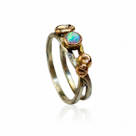 Recycled white & rose gold Root ring with synthetic opal. UK Size M - US size 6