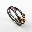 Root ring: Beaten & oxidised silver ring with gold and amethyst - UK size N, US