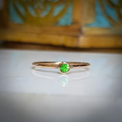 Rose gold delicate ring with tsavorite garnet. UK Size O - US size 7