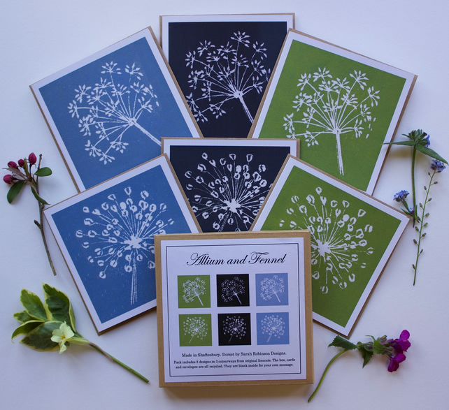 Pack of 6 linocut greeting cards. FREE UK postage