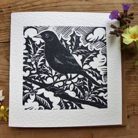 Blackbird greetings card from original lino cut