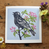 Linocut greeting card with Songbird