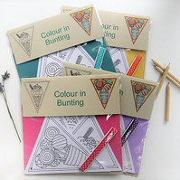 Sweets and Treats paper bunting, colouring kit.