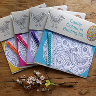 Easter Eggs and Chicks colour in bunting kit