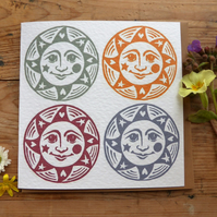 Four Suns, linocut greetings card