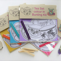Tea Set, colour in bunting kit