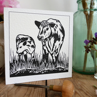 Cow and Calf in Meadow, linocut greeting card