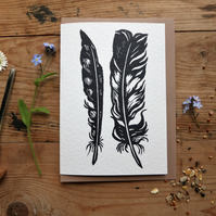 Two Feathers, linocut greeting card