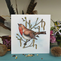 Robin greeting card, garden birds