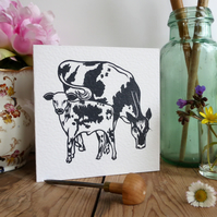 Cow and Calf, greetings card from a linocut