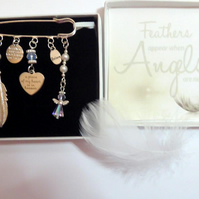 Feathers Appear when Angels are Near Remembrance Sympathy Keepsake Gift Angel Cr