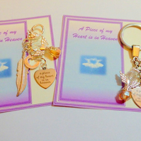 A Piece of my Heart is in Heaven Key ring or Bag Charm with Guardian Angel