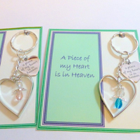 A Piece of my Heart is in Heaven Angel Heart Memorial Remembrance Key Ring Gift