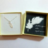 Feathers Appear When Angels are Near Remembrance Delicate Feather Necklace