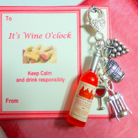 "Is it Wine O'Clock? Yes ""It is Wine O'Clock"" Novelty Gift of Handbag Charm with"