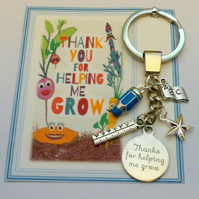 Thank You Gift Teacher Thank you for helping me Grow Key ring End of Term Gift