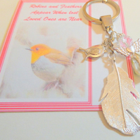 Robins and Feathers Appear when Angels are Near Remembrance Sympathy Keepsake Ke