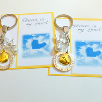 Forever in my Heart Remembrance Key Ring Gift Guardian Angel with Mom or Dad gol