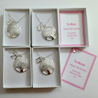 Tree or Life Birthday Necklace Gift Personalised Gift Box 18th Birthday, 21st