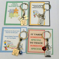 Thank you Gift for Special Needs Teacher SEN either Key on Gift card in Organza
