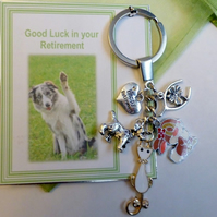 Good Luck in Retirement Vet Veterinarian Key Ring with Animal Charms, Happy Reti
