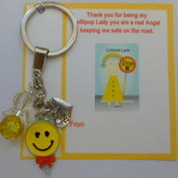 Thank you Gift Lollypop Lady Novelty Yellow Key Ring with Lollypop, Angel and Th