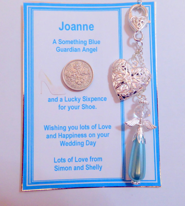 Something Blue Traditional Lucky Bridal Charm Pastel Blue Pearl Guardian Angel