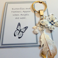 Butterflies Feathers Appear when Angels are Near Memorial Remembrance Key Ring