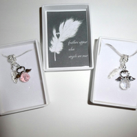 Feathers Appear When Angels are Near Remembrance Angel Necklace