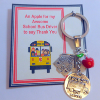 Awesome School Bus Driver Key Ring An Apple Thank You Gift Show Appreciation