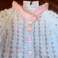 Chunky White & Pink Wool Cardigan Coat Jacket for Baby 12 months 24 inch chest