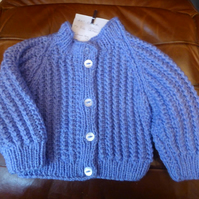 Chunky Blue Wool Cardigan CoatJ acket for Baby 12 months 22 inch chest 5 button