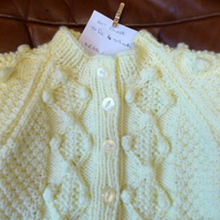 Chunky Cream Light Lemon Aran Wool Cardigan Coat Jacket for Baby 6-9 months