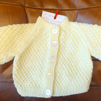 Chunky Cream Aran Wool Cardigan Coat Jacket for Baby 3-6 months 18 inch chest